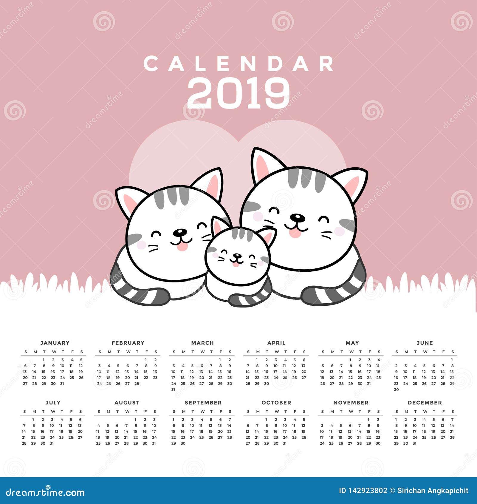 Kalendarz 2019 z ślicznymi kotami