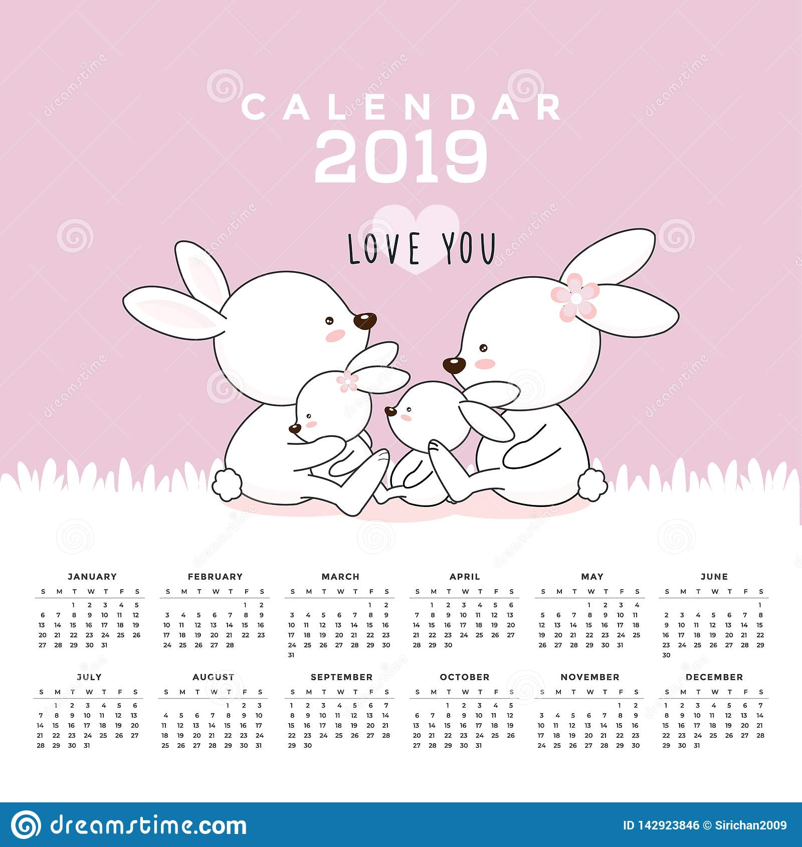 Kalendarz 2019 z ?licznymi kr?likami R?ka rysuj?ca wektorowa ilustracja