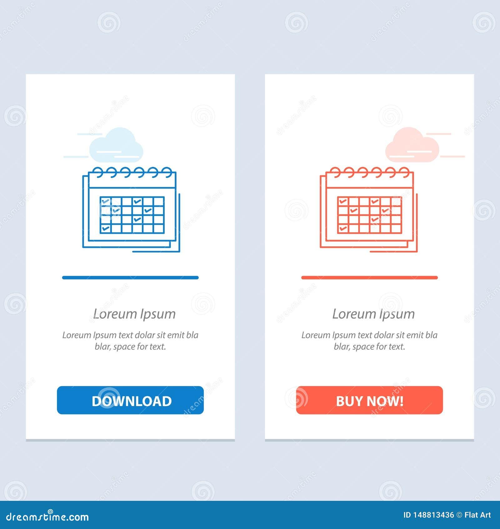 Kalendarza, biznesu, daty, wydarzenia, planowania, rozkładu, rozkład zajęć sieci Widget karty szablon, Błękitnej i Czerwonej ścią