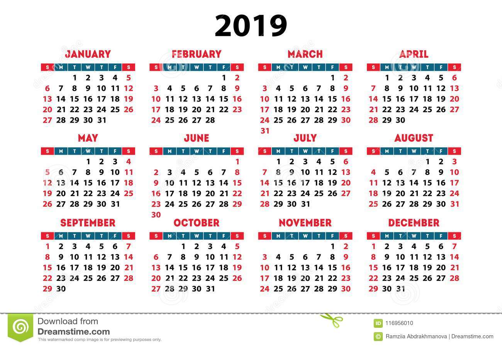 kalendarza 2019 wektorowa podstawowa siatka prostego
