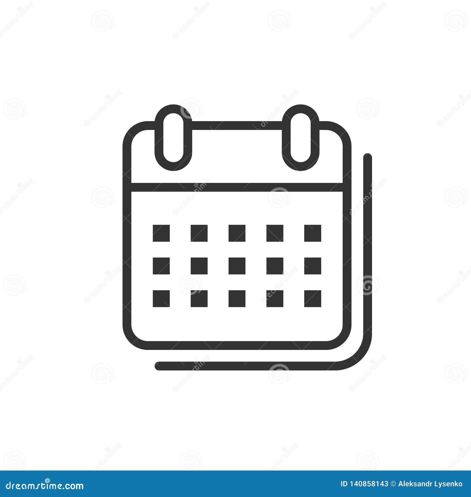 Kalendarzowa organizator ikona w mieszkanie stylu Nominacyjnego wydarzenia wektorowa ilustracja na białym odosobnionym tle Miesią