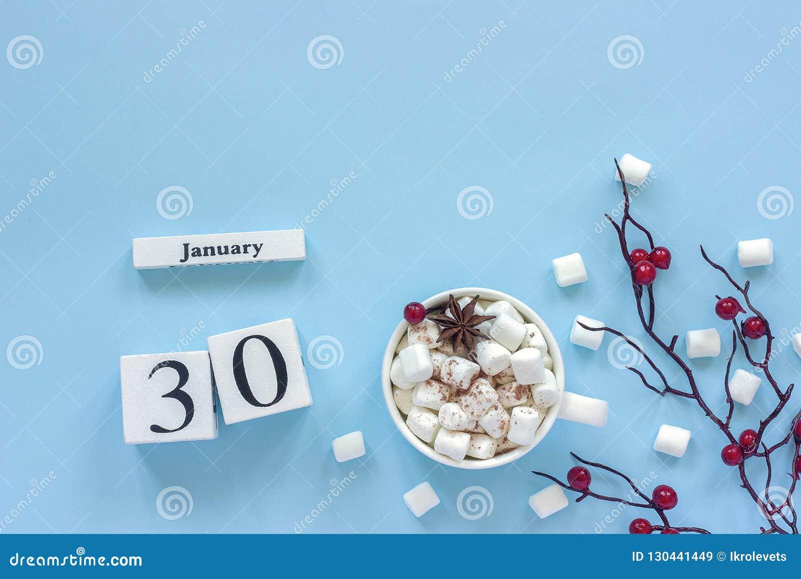 Kalendarzowa Stycznia 30 filiżanka kakao, marshmallows i gałąź jagody,
