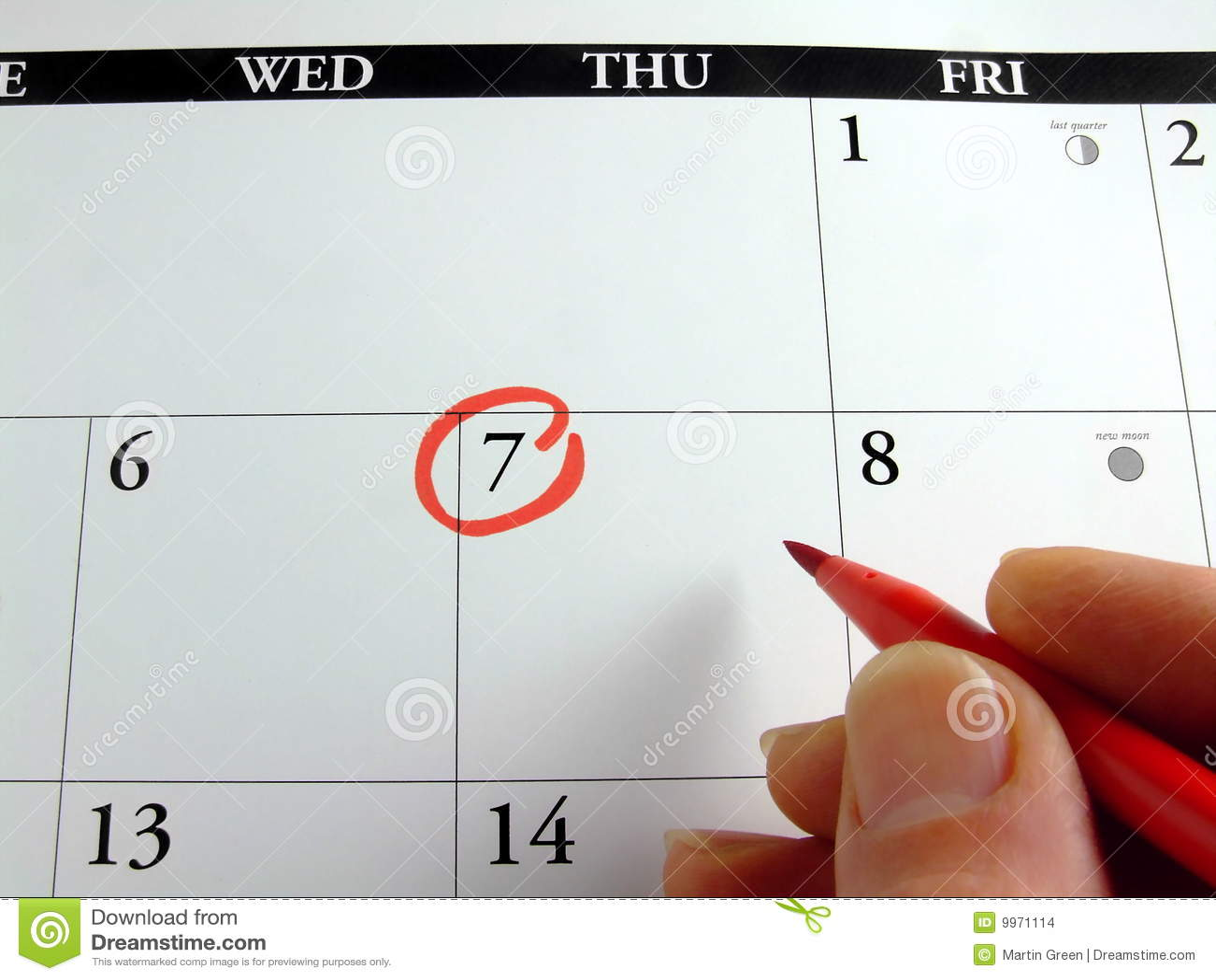 Kalendarzowy ocechowanie