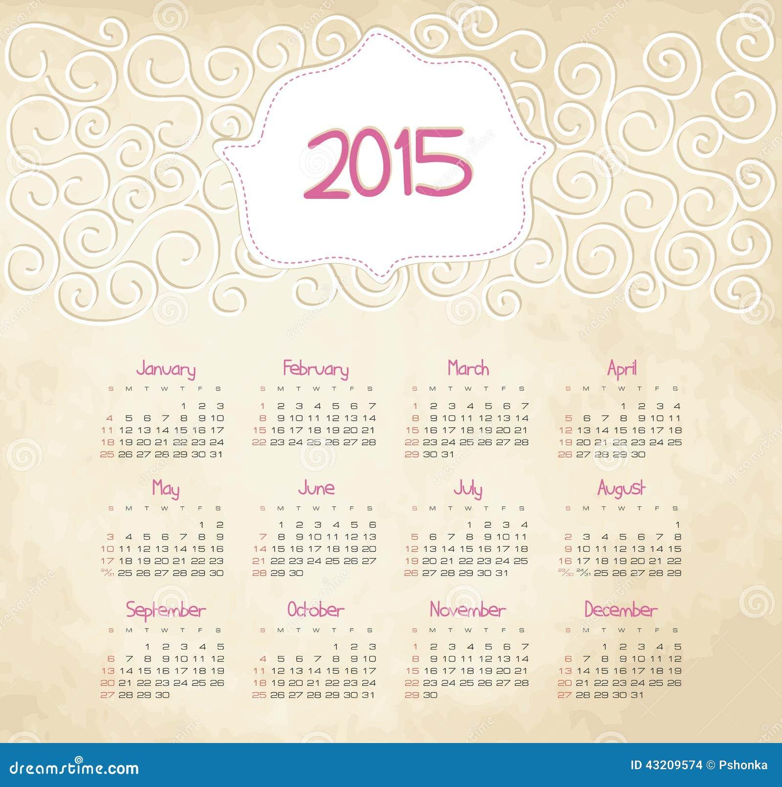 Download Kalender 2015 år vektor illustrationer. Illustration av månatligt - 43209574