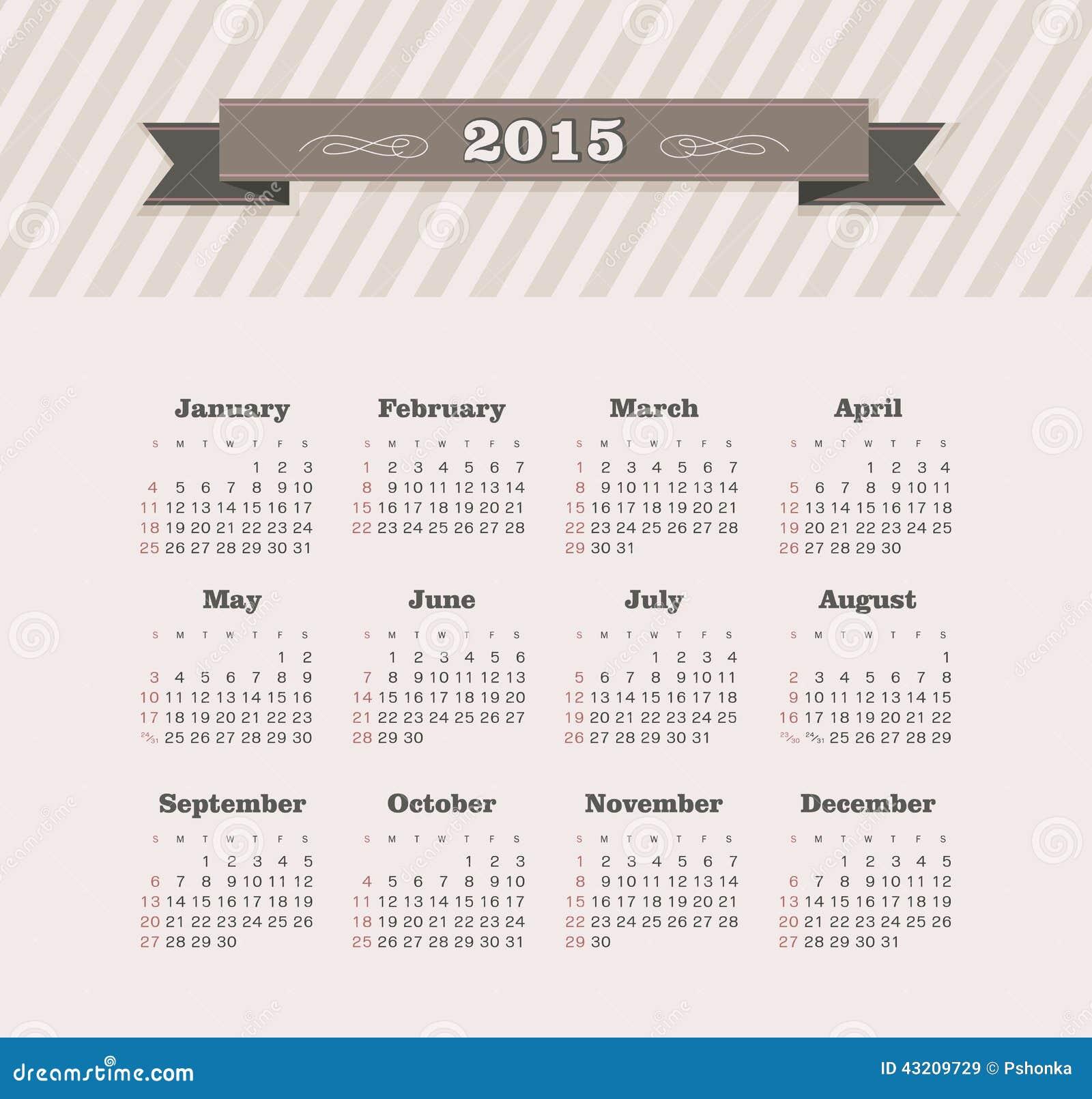 Download Kalender 2015 år vektor illustrationer. Illustration av datum - 43209729