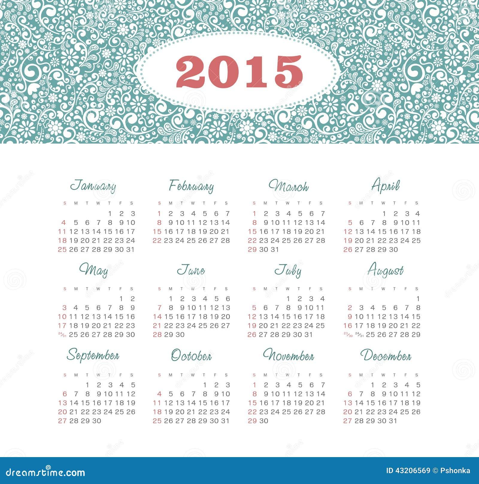 Download Kalender 2015 år Med Den Dekorativa Modellen Vektor Illustrationer - Illustration av design, juli: 43206569