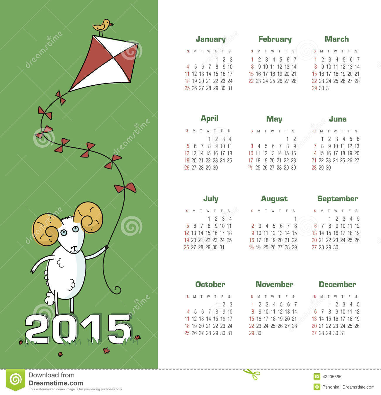 Download Kalender 2015 år med får vektor illustrationer. Illustration av november - 43205685