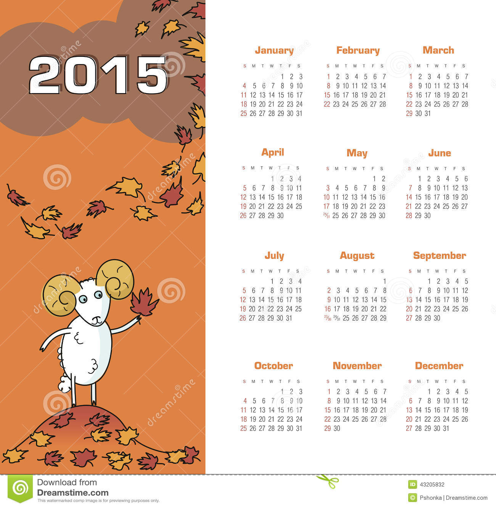 Download Kalender 2015 år med får vektor illustrationer. Illustration av färg - 43205832