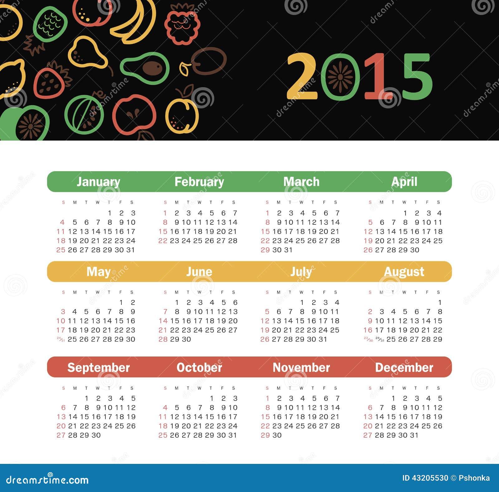 Download Kalender 2015 år Med Fruktsymboler Vektor Illustrationer - Illustration av mango, dagligt: 43205530