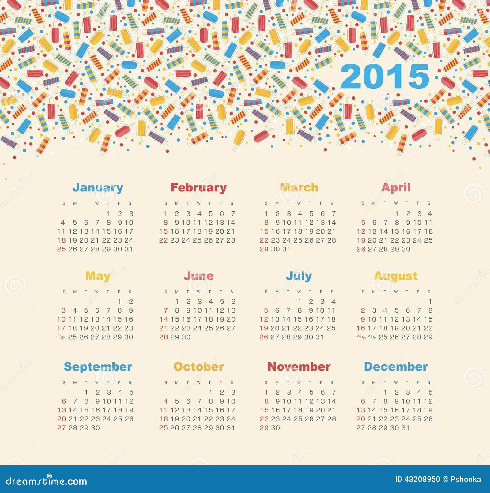 Download Kalender 2015 år med glass vektor illustrationer. Illustration av kulört - 43208950