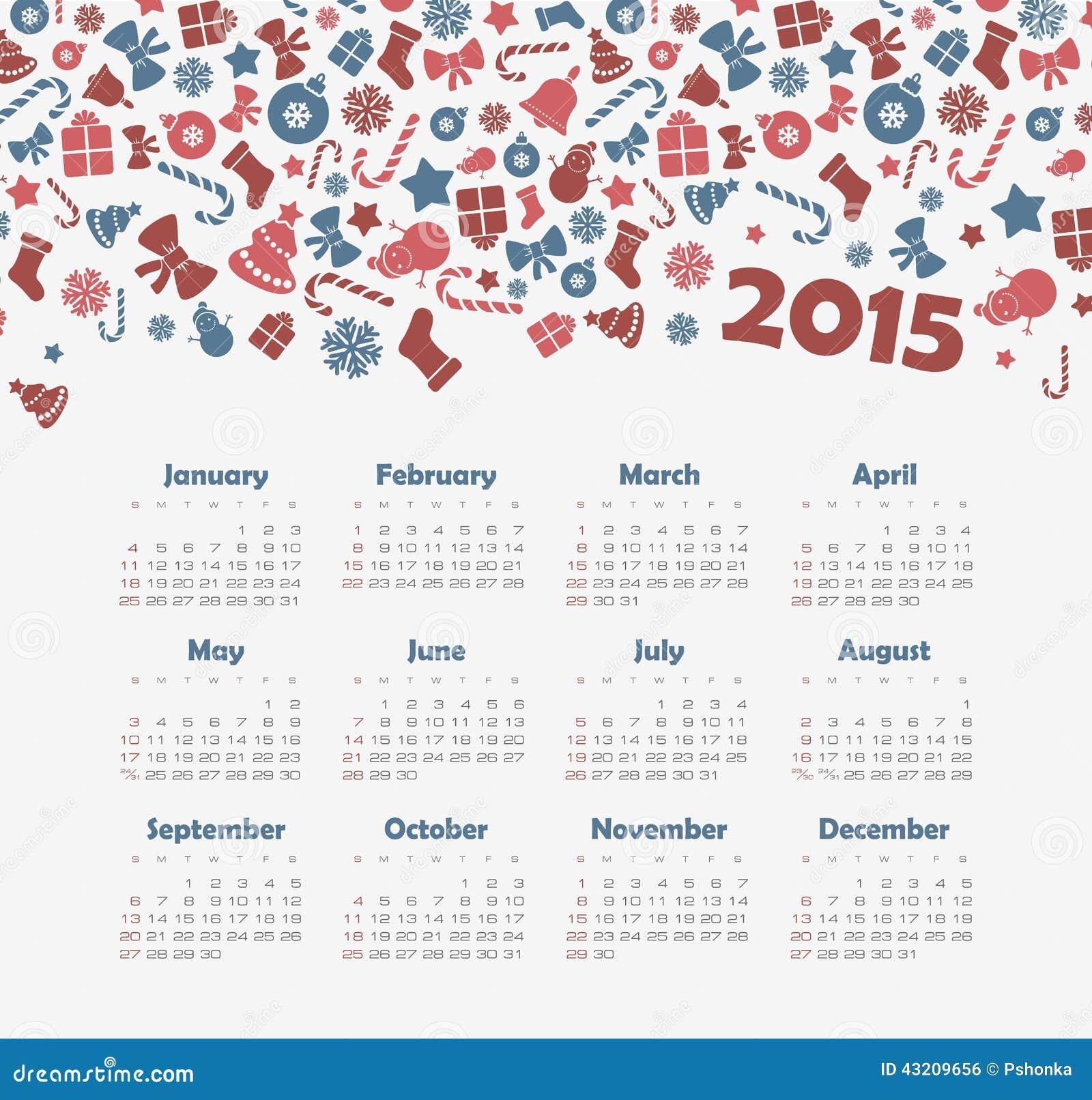 Download Kalender 2015 år Med Julmodellen Vektor Illustrationer - Illustration av september, juli: 43209656