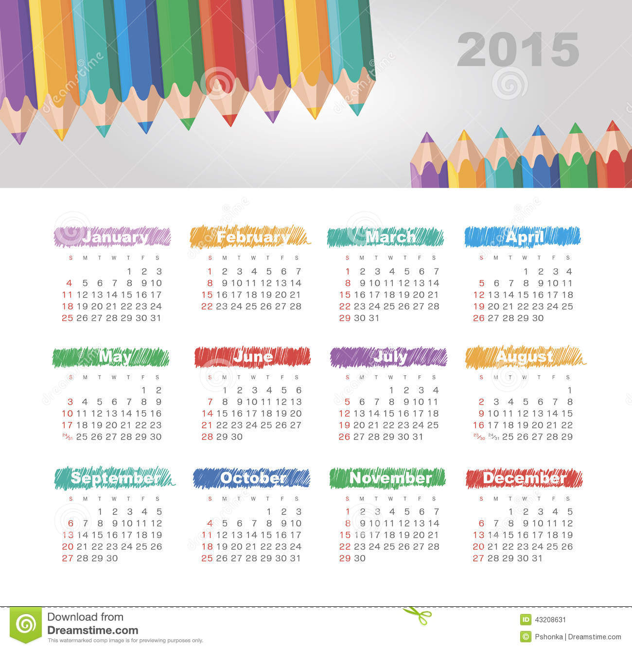 Download Kalender 2015 år Med Kulöra Blyertspennor Vektor Illustrationer - Illustration av planner, kulört: 43208631