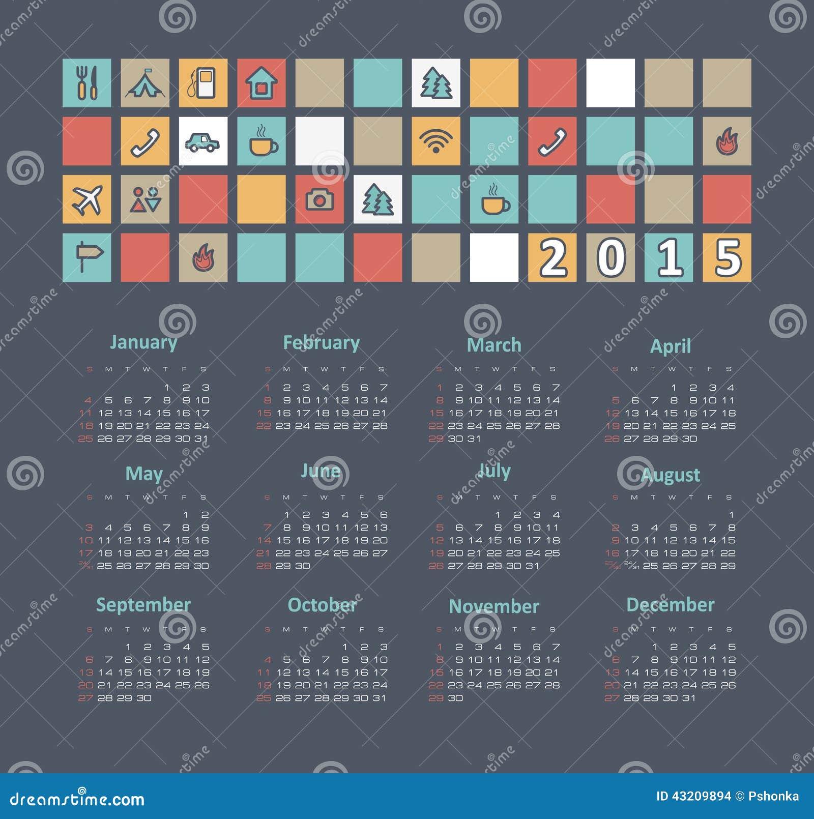 Download Kalender 2015 år Med Loppsymboler Vektor Illustrationer - Illustration av design, januari: 43209894