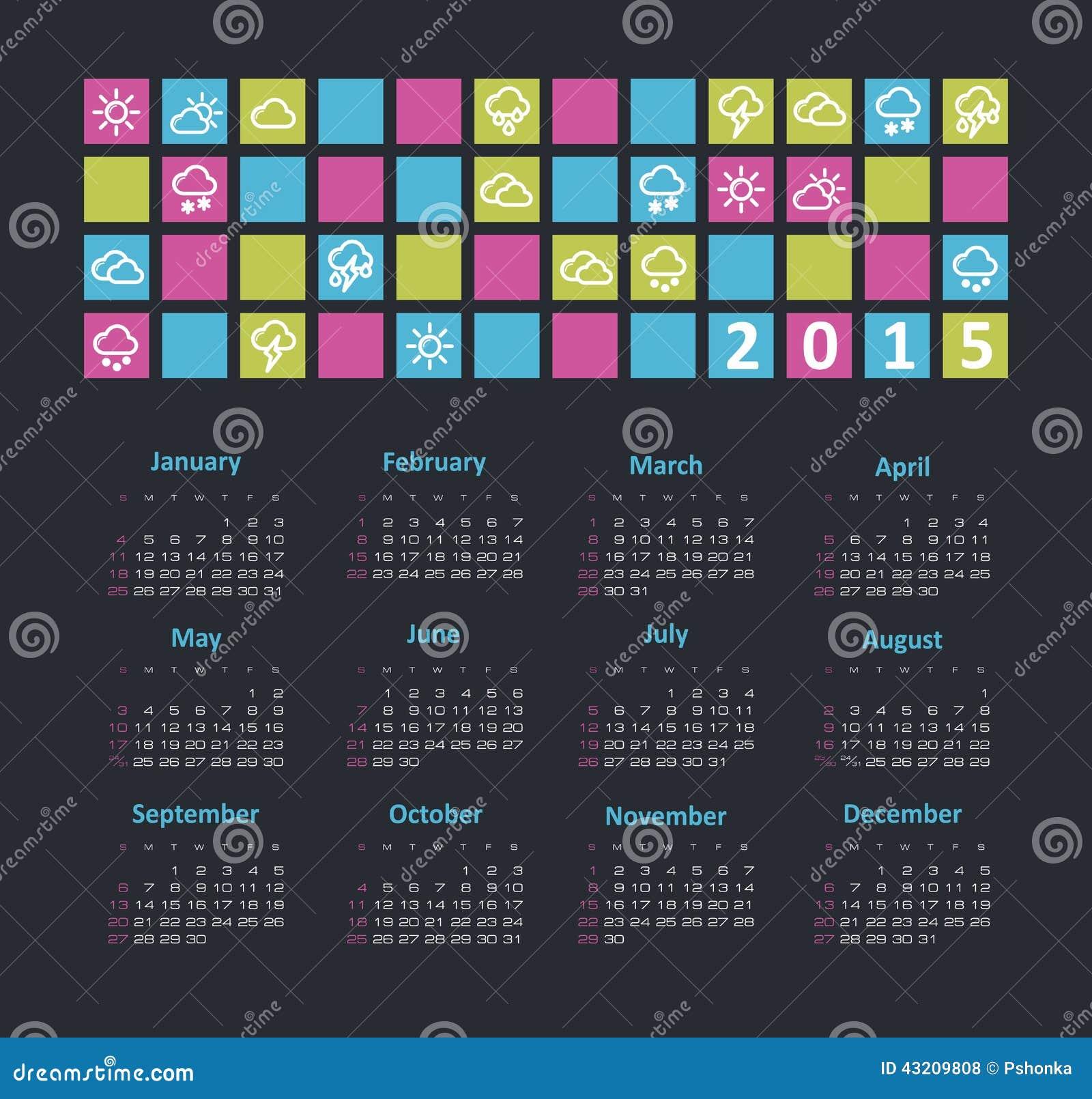 Download Kalender 2015 år Med Vädersymboler Vektor Illustrationer - Illustration av januari, dagbok: 43209808