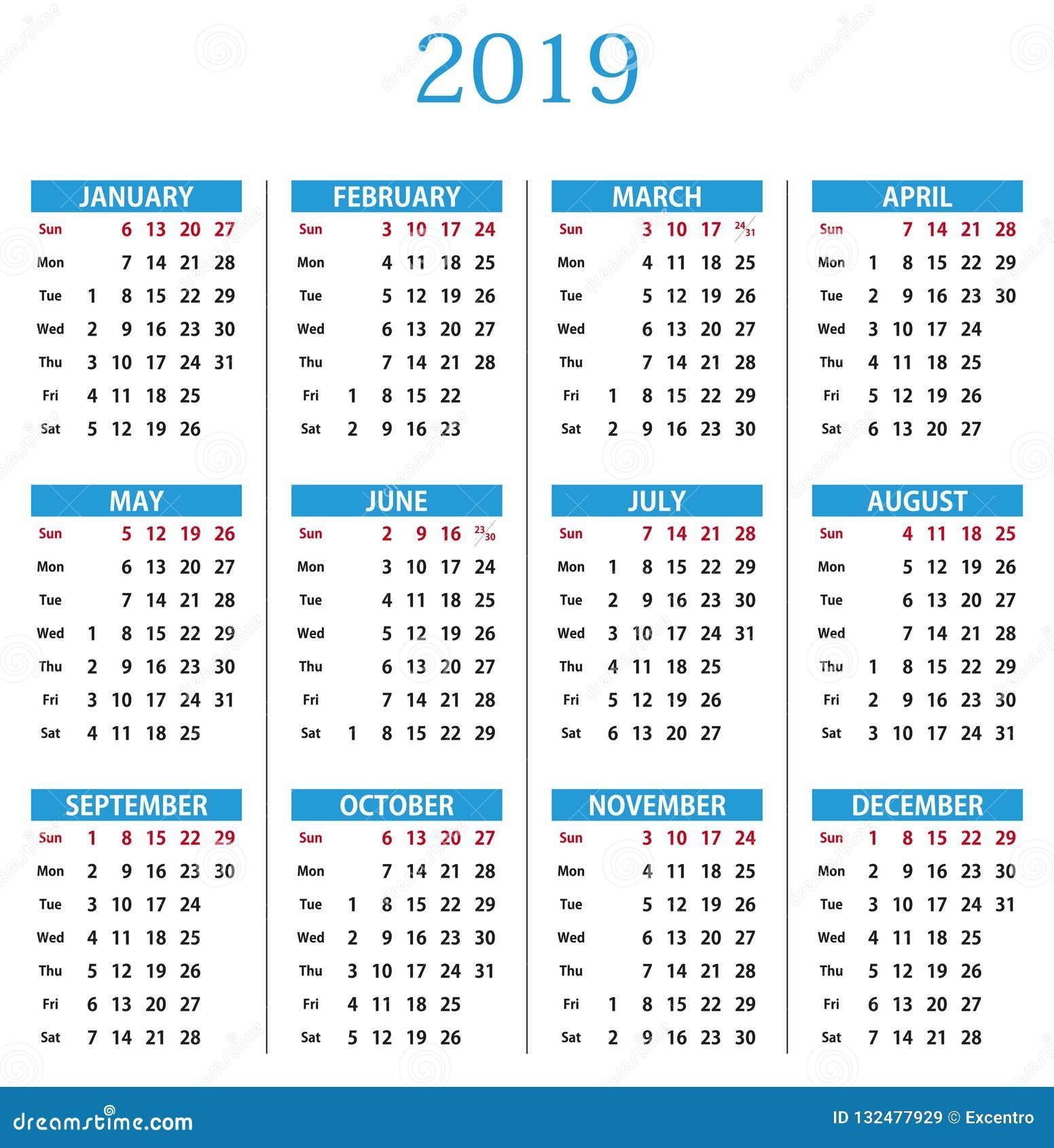 kalender 2019 vector illustratie illustratie bestaande. Black Bedroom Furniture Sets. Home Design Ideas