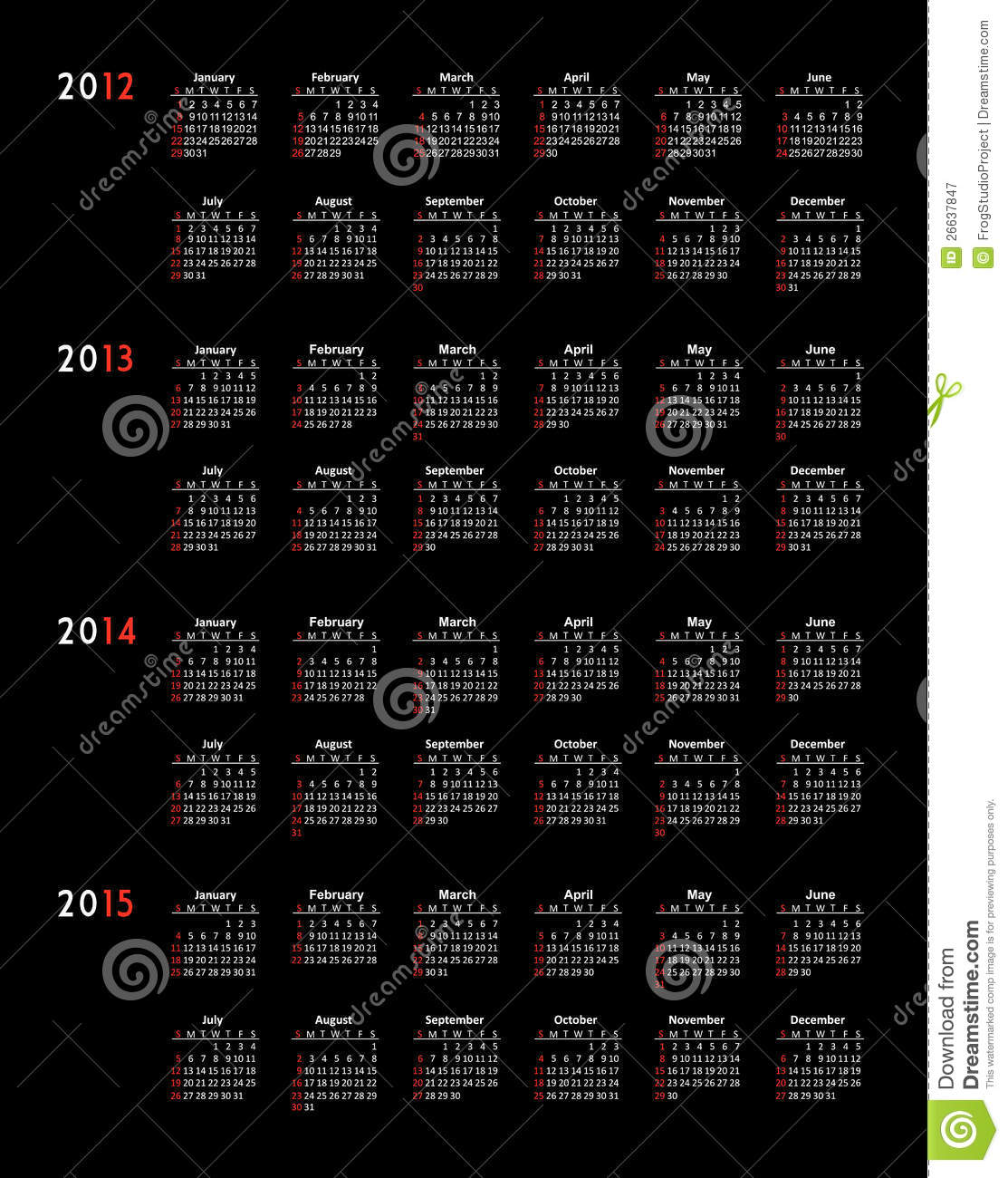 kalender 2012 2013 2014 2015 royalty vrije stock fotografie beeld 26637847. Black Bedroom Furniture Sets. Home Design Ideas