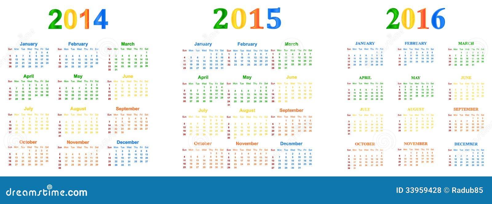 2014-2016 färgar kalendern med säsongnärmare detalj ...
