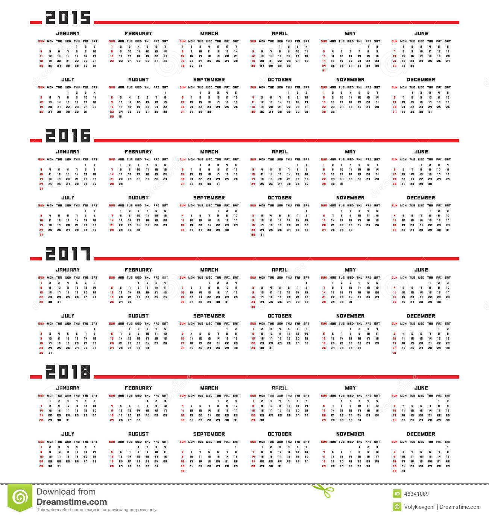 Kalender 2015, 2016, 2017, 2018
