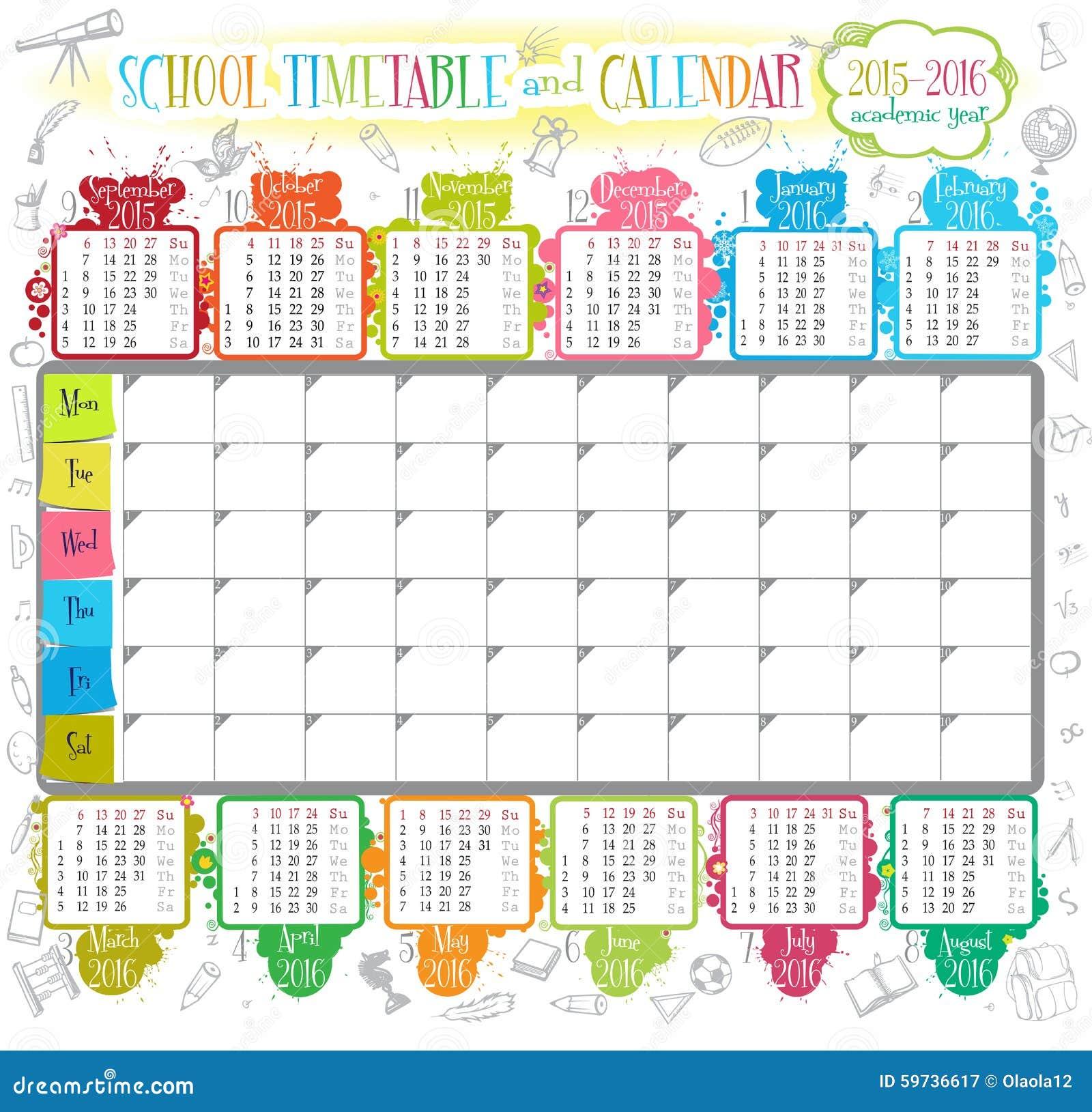 Kalender 2015-2016 vektor abbildung. Bild von abbildung ...