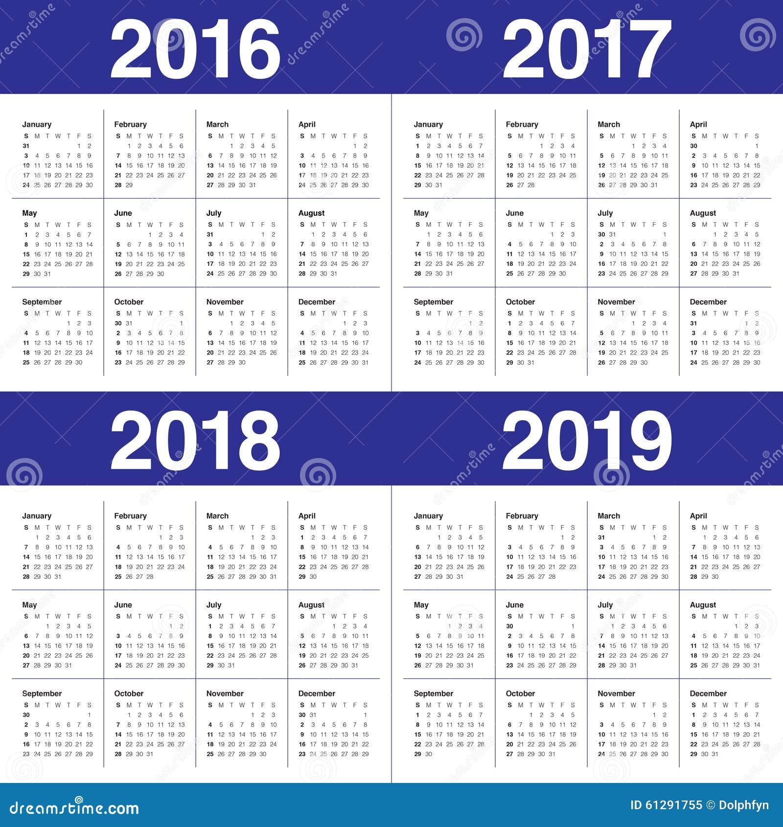 Kalender 2016 2017 2018 2019 Stockbild - Bild von monat ...