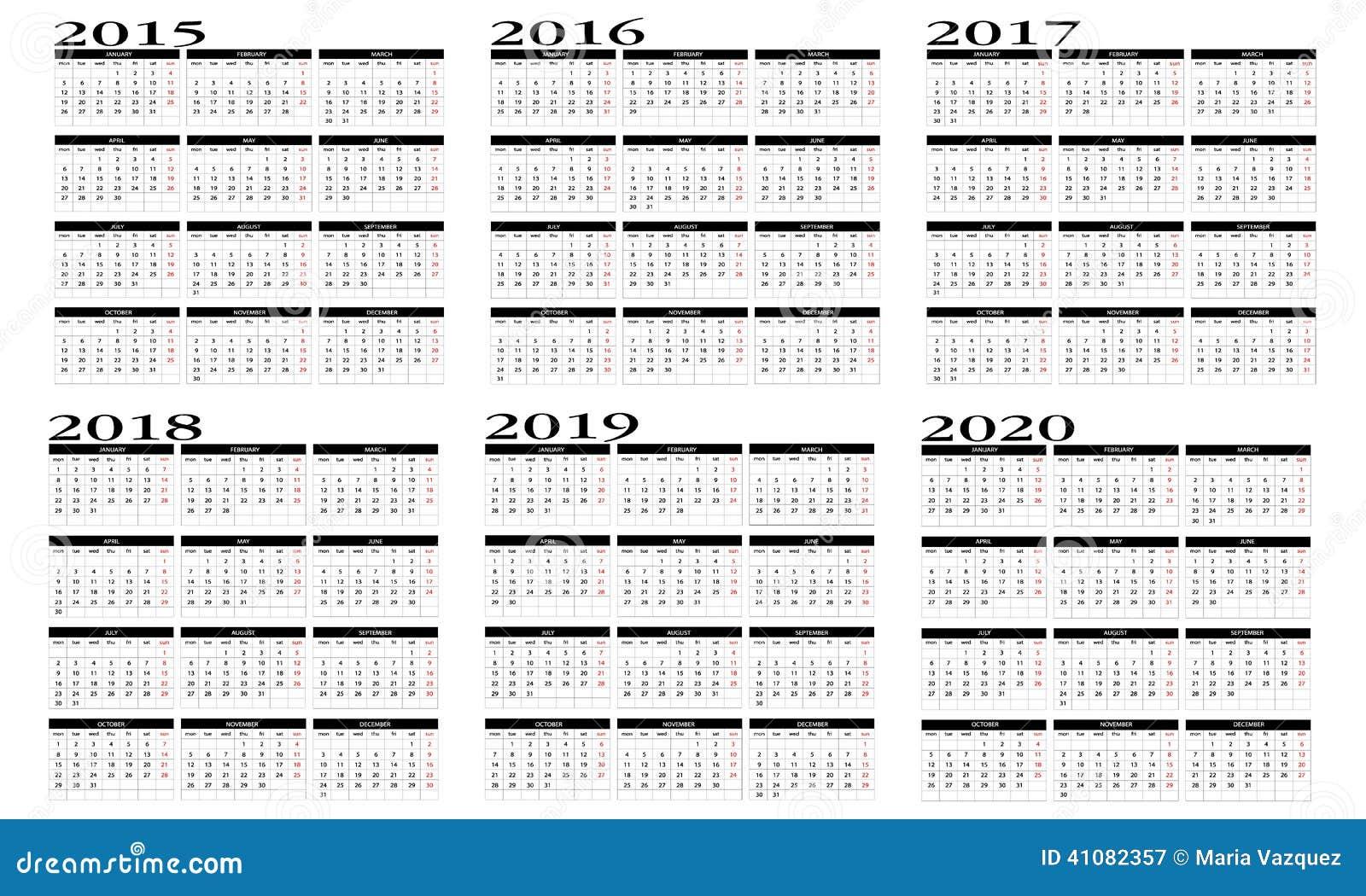 Kalender 2015 bis 2020 vektor abbildung. Illustration von ...