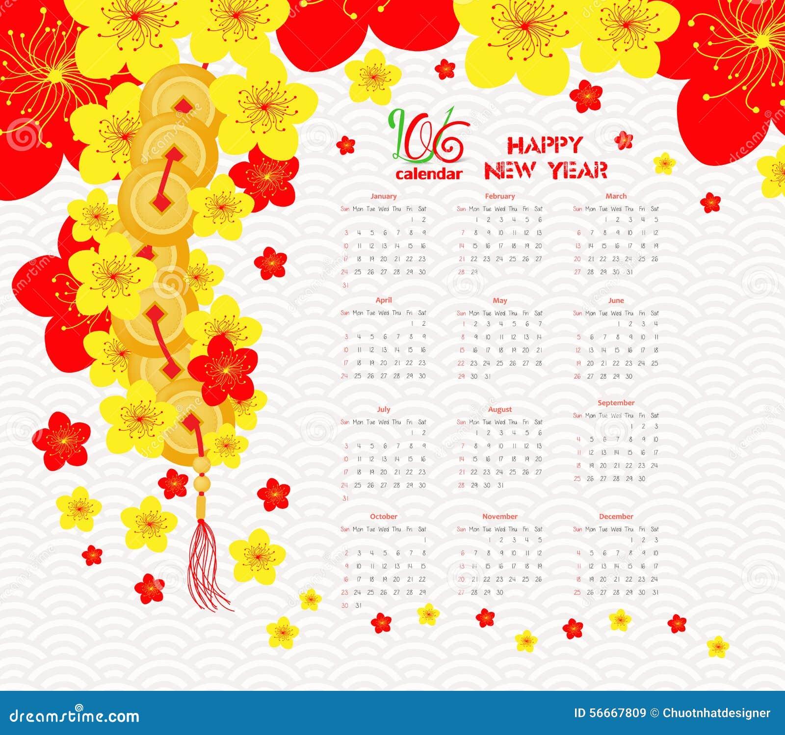 Kalender 2016 Chinesisches Neujahrsfest Cherry Blossom Vektor ...