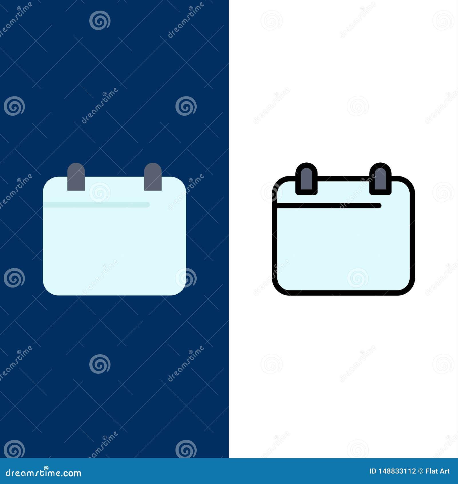 Kalender dag, datum, årssymboler Lägenheten och linjen fylld symbol ställde in blå bakgrund för vektorn