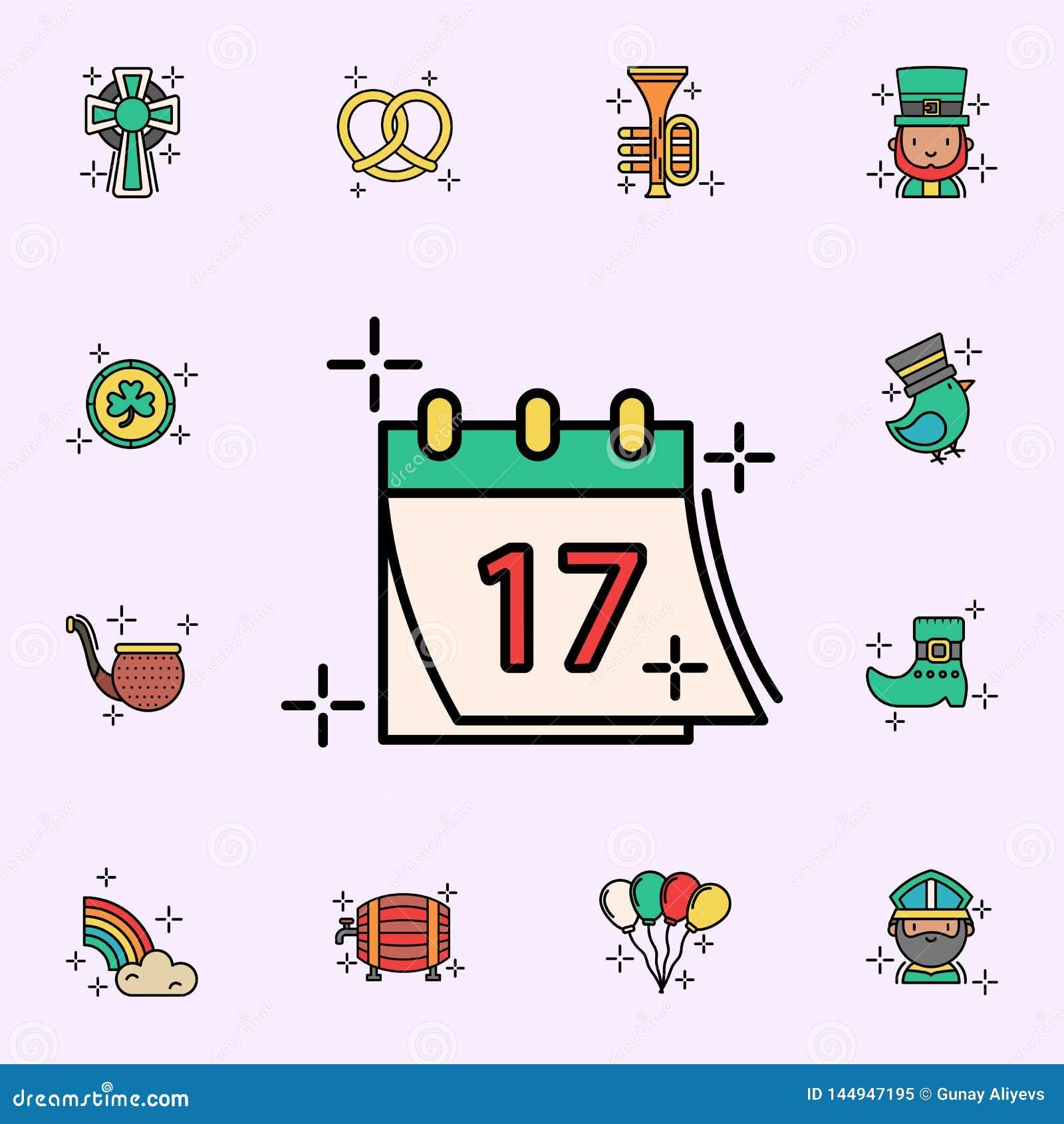 Kalender 17, datumsymbol Universell upps?ttning f?r StPatricks dagsymboler f?r reng?ringsduk och mobil