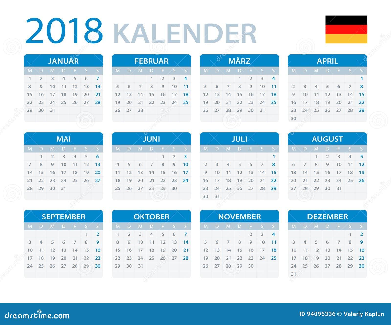 kalender 2018 deutsche version stock abbildung. Black Bedroom Furniture Sets. Home Design Ideas