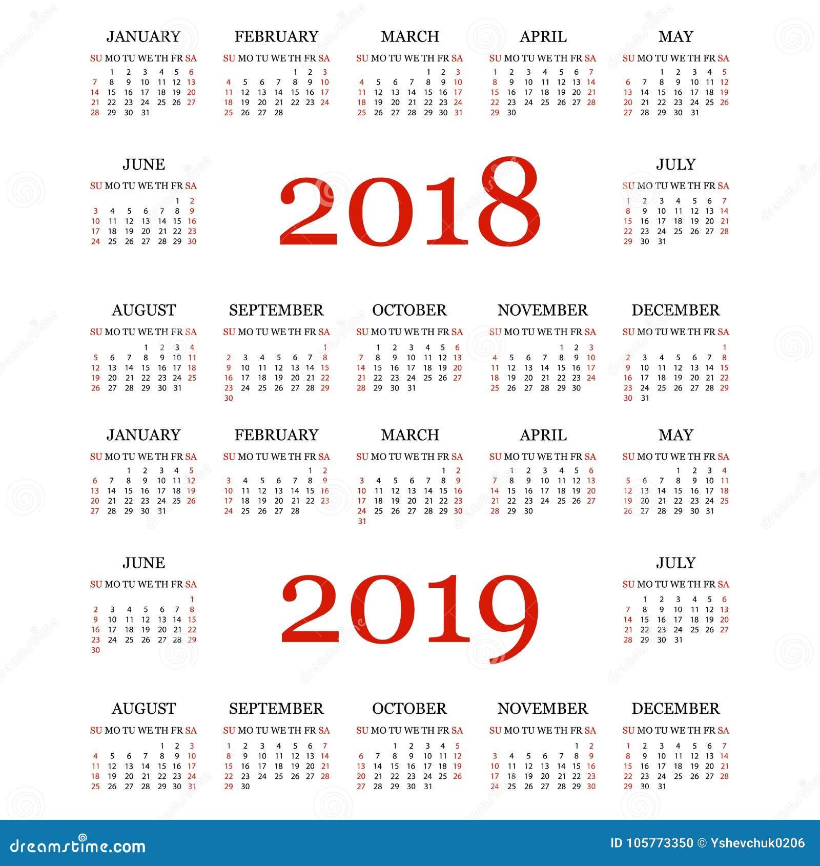 kalender 2018 2019 eenvoudig kalendermalplaatje voor jaar 2018 en 2019 witte achtergrond vector. Black Bedroom Furniture Sets. Home Design Ideas