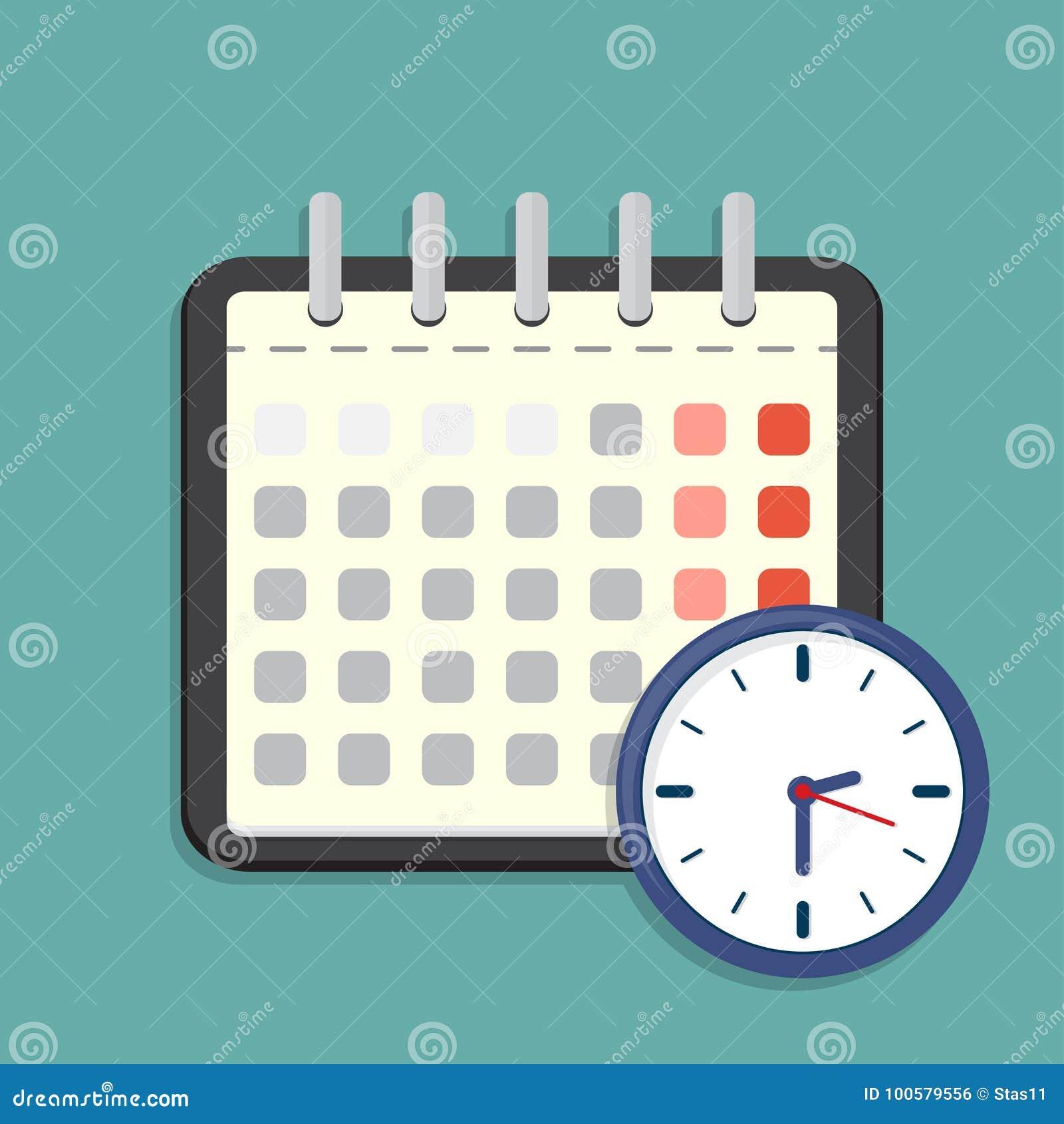 Kalender en klokpictogram Programma, benoeming Vector illustratie