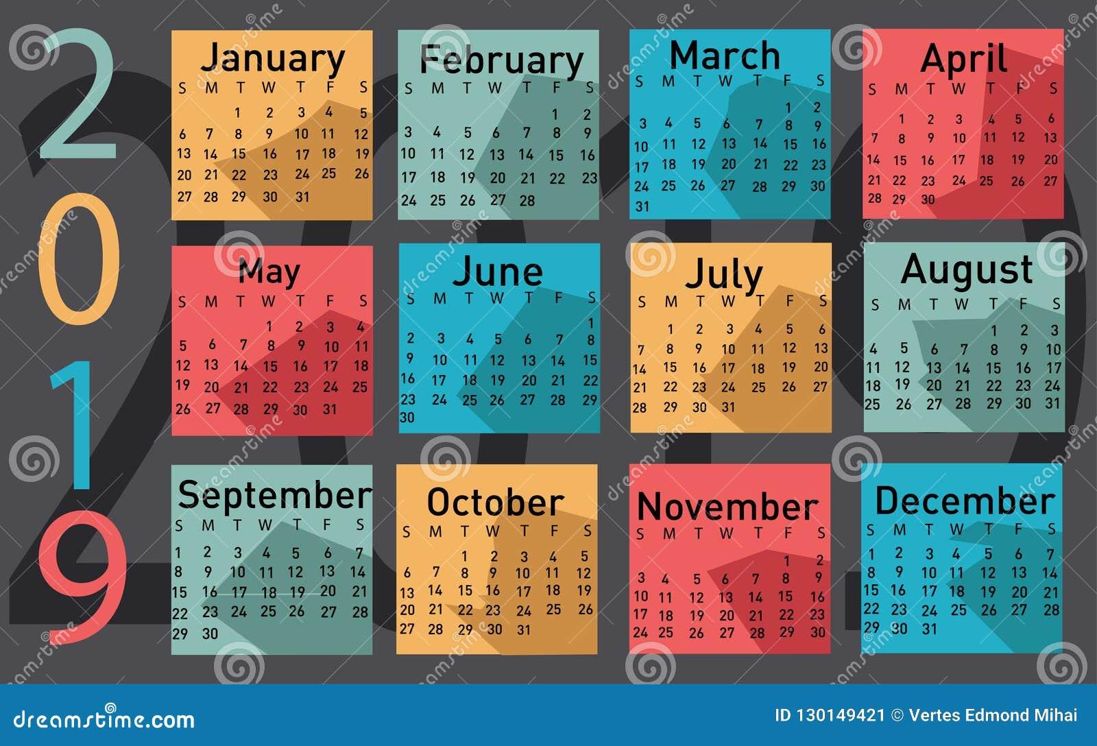 Kalender för vektorn 2019