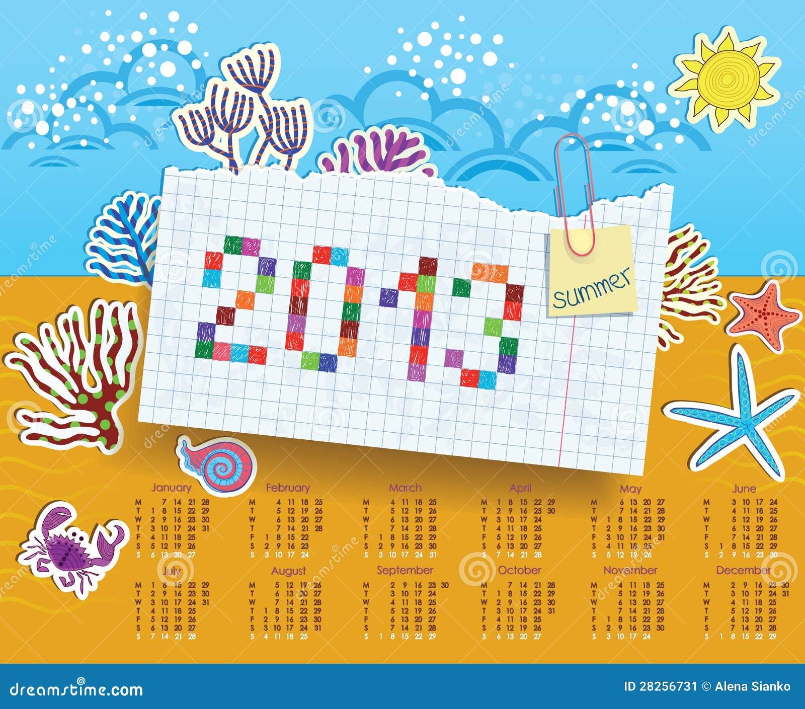 Kalender für 2013. Collage der Aufkleber