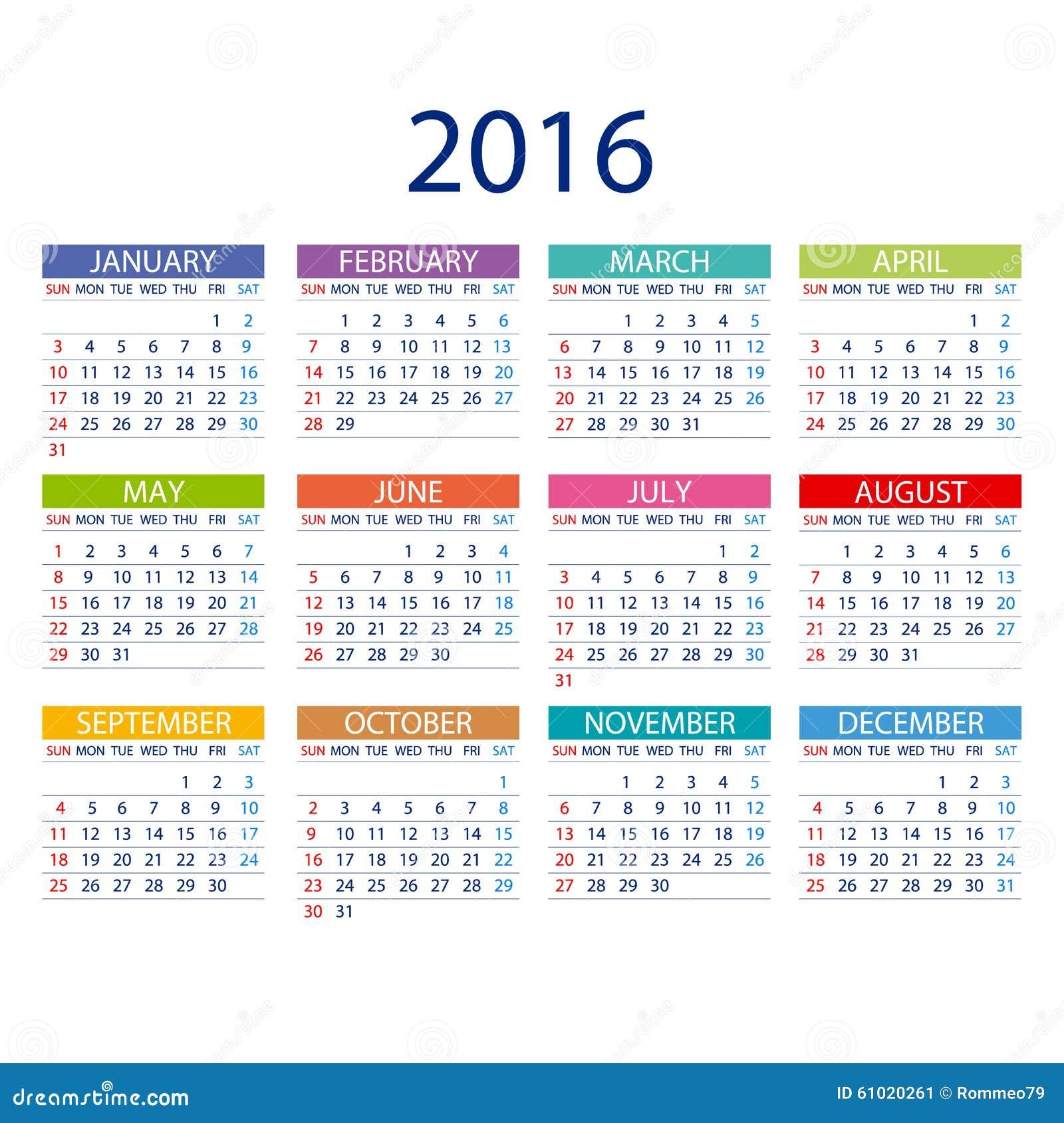 kalender f r 2016 auf wei em hintergrund woche beginnt. Black Bedroom Furniture Sets. Home Design Ideas
