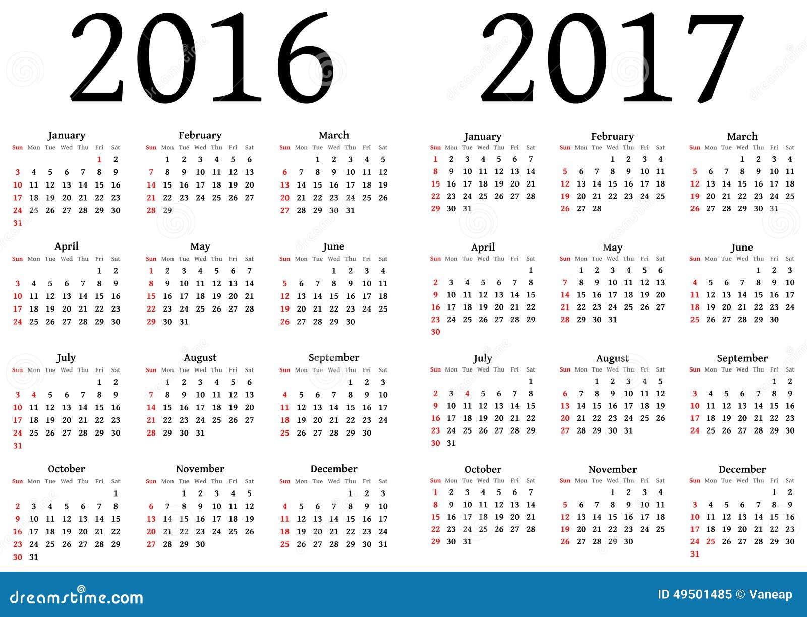 kalender f r 2016 und 2017 vektor abbildung illustration. Black Bedroom Furniture Sets. Home Design Ideas