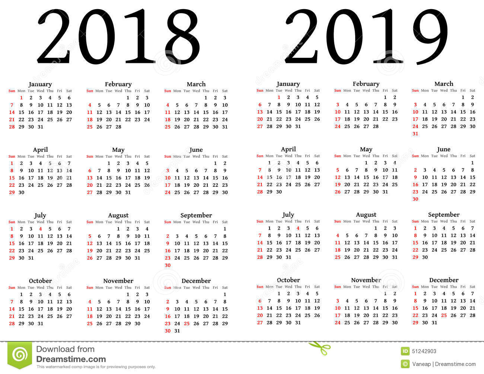 kalender f r 2018 und 2019 stock abbildung bild 51242903. Black Bedroom Furniture Sets. Home Design Ideas