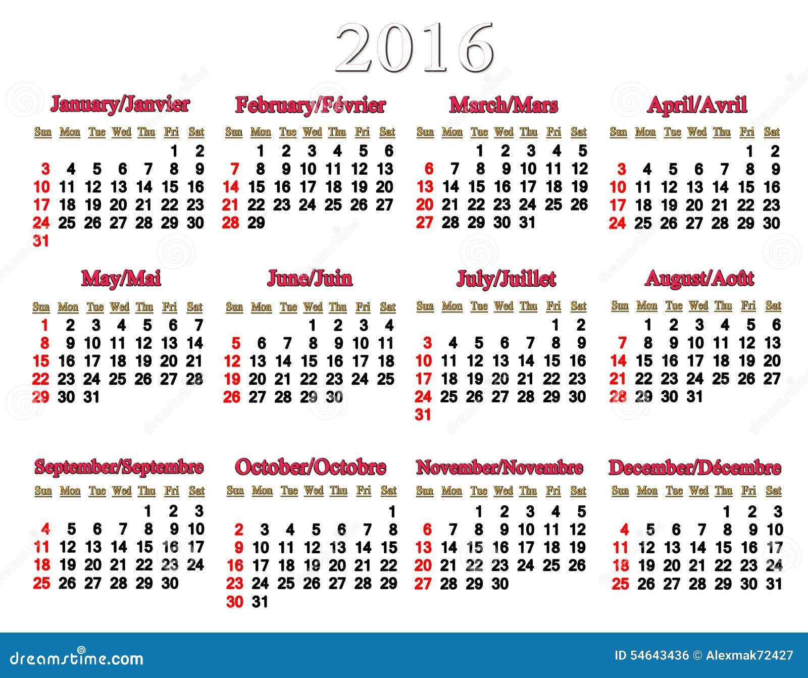 Kalender für 2016 auf