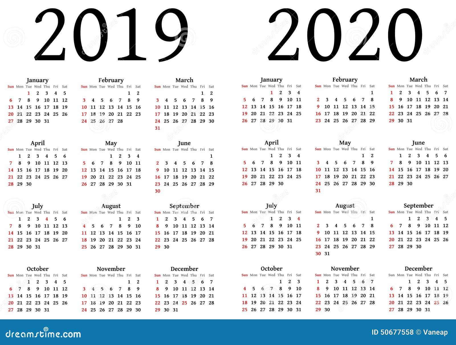 kalender f r 2019 und 2020 vektor abbildung bild 50677558. Black Bedroom Furniture Sets. Home Design Ideas