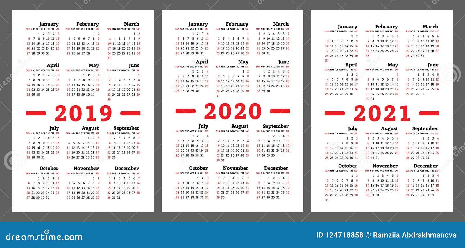 Kalender 2019 2020 2021 Jahre Bunter Vektorsatz Wochenanfang