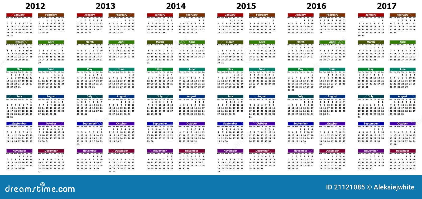 Kalender jaren 2012 - 2017 stock illustratie. Afbeelding ...
