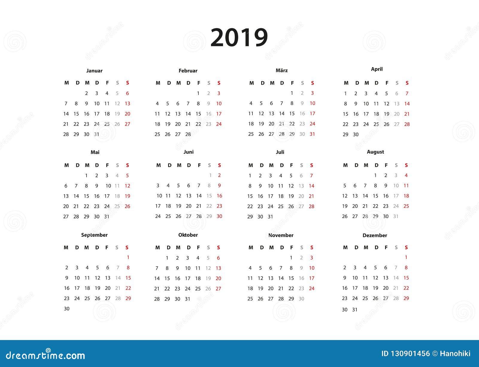 kalender 2019 2020 2021 kalender einfache vorlage deutsch stock vector illustration of. Black Bedroom Furniture Sets. Home Design Ideas