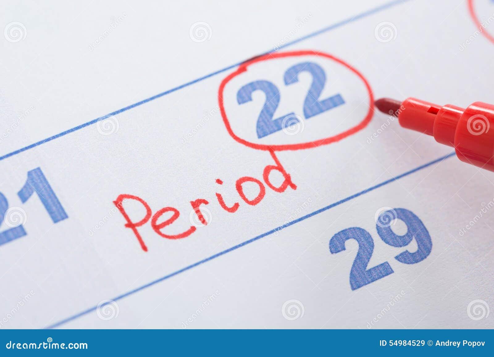 Kalender med det tydliga mensesdatumet