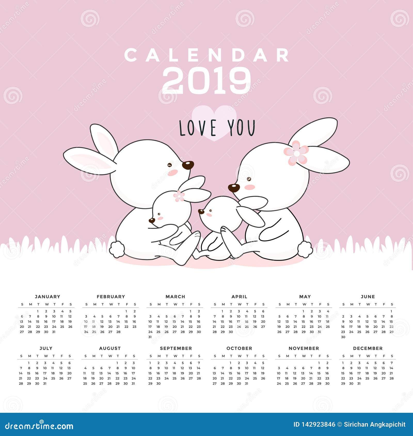 Kalender 2019 med gulliga kaniner Hand tecknad vektorillustration