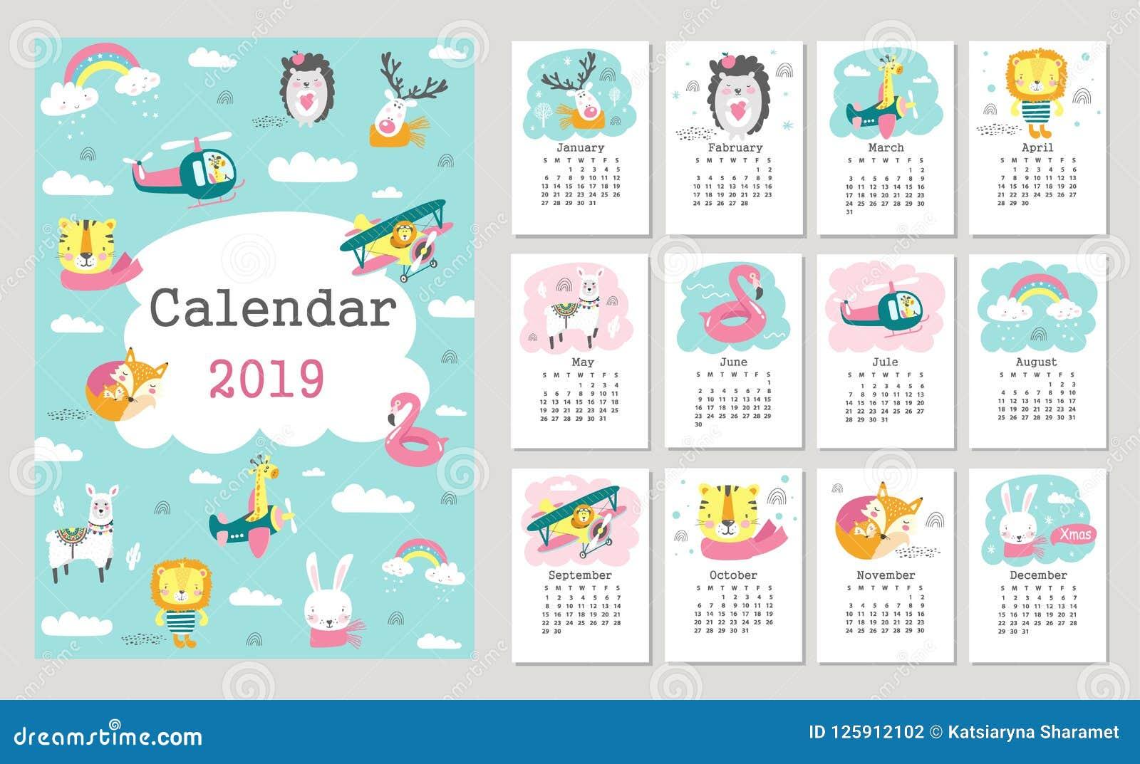 Kalender 2019 med gulliga skogdjur tecknad handvektor