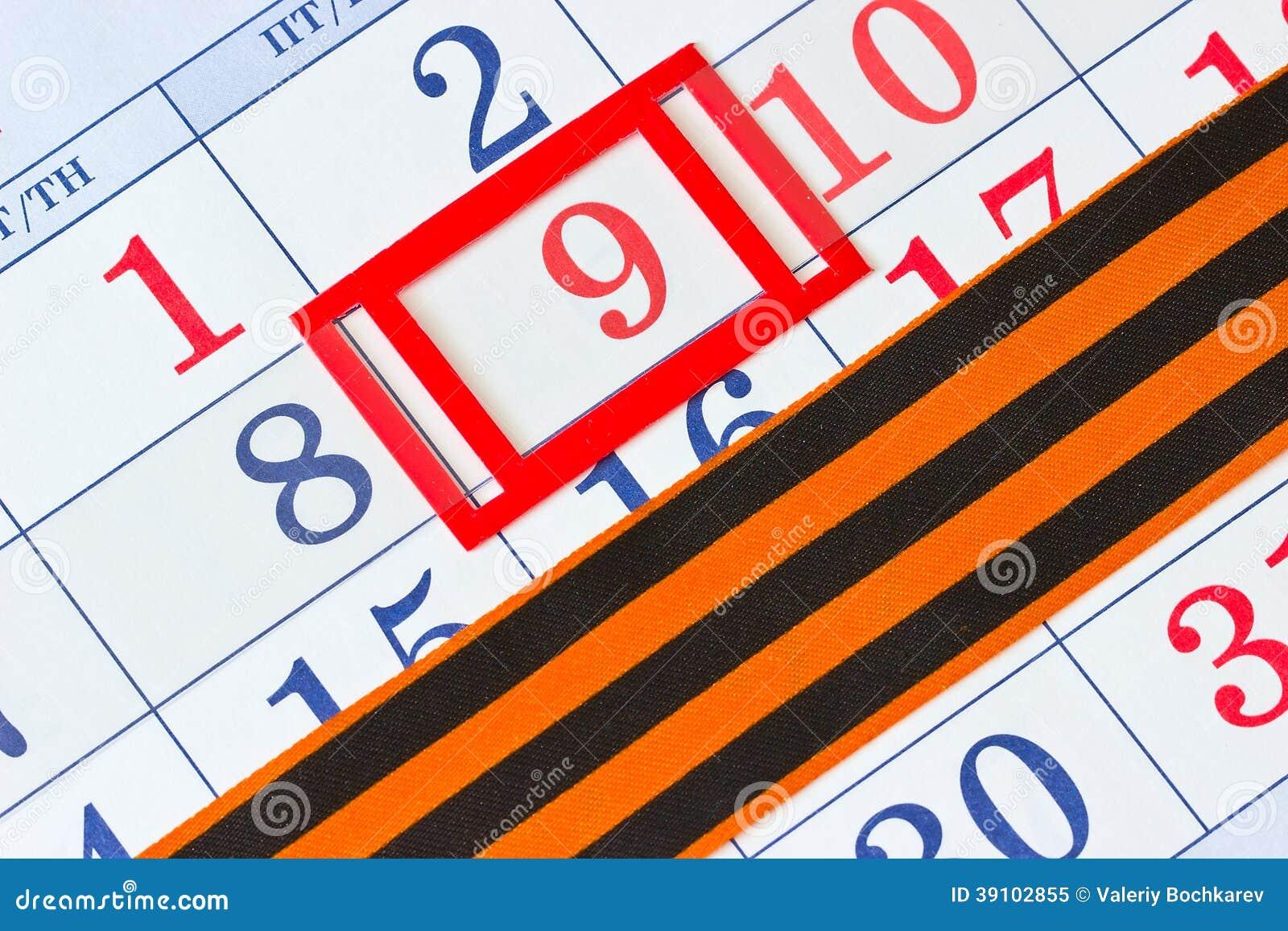 Kalender met de datum van 9 Mei