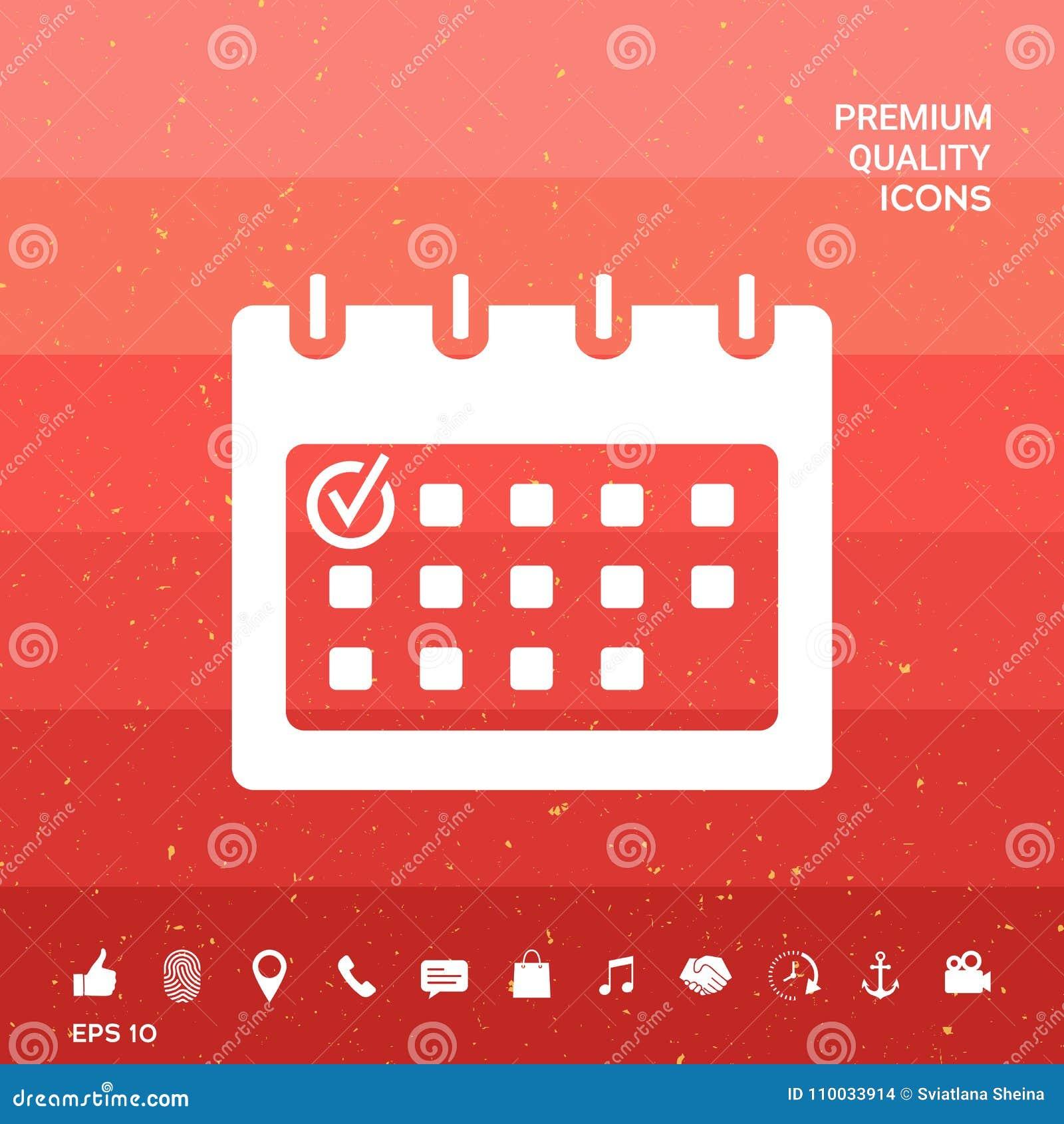 Kalender met het pictogram van het Controleteken