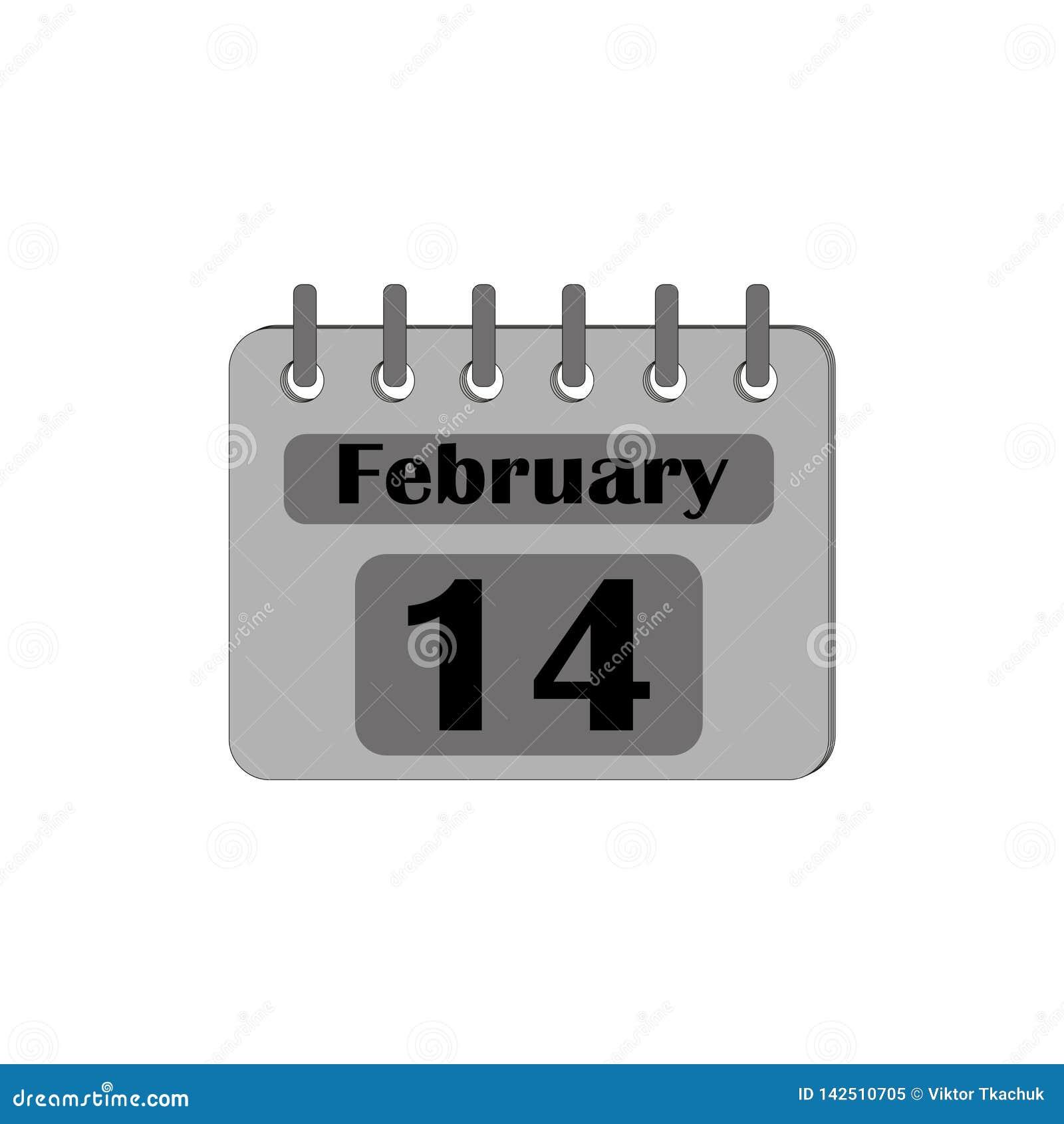 Kalender mit dem Datum vom 14. Februar ist Isoliergrau auf einem weißen Hintergrund