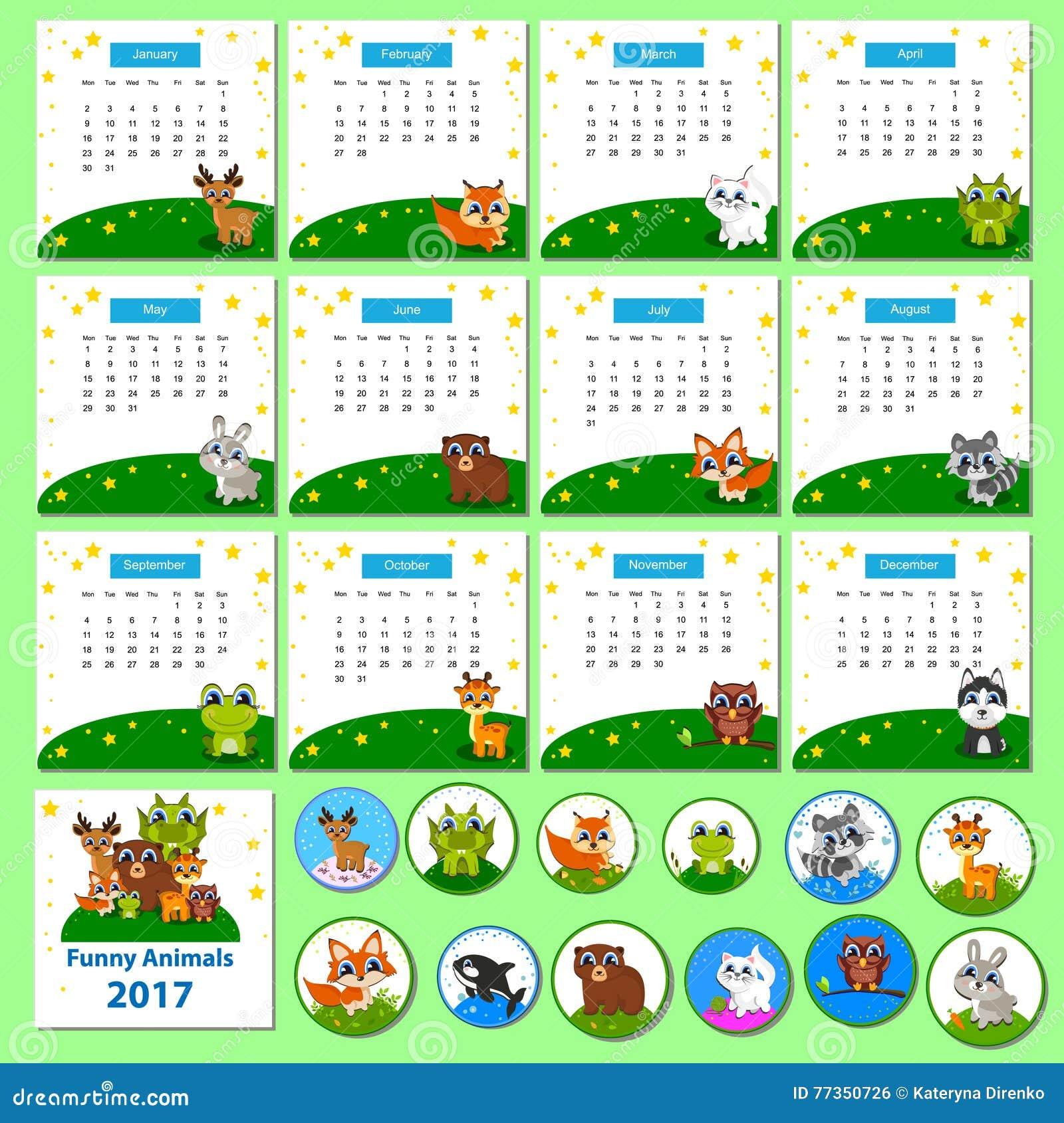 kalender 2017 mit lustigen karikaturtieren vektor. Black Bedroom Furniture Sets. Home Design Ideas