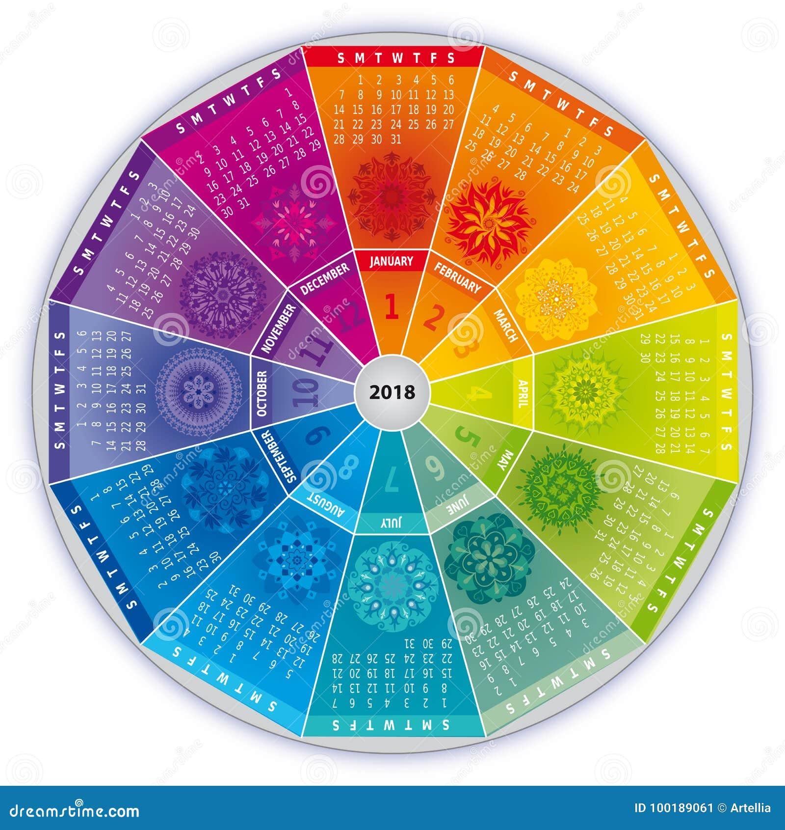 kalender 2018 mit mandalen in den regenbogen farben vektor abbildung illustration von karma. Black Bedroom Furniture Sets. Home Design Ideas