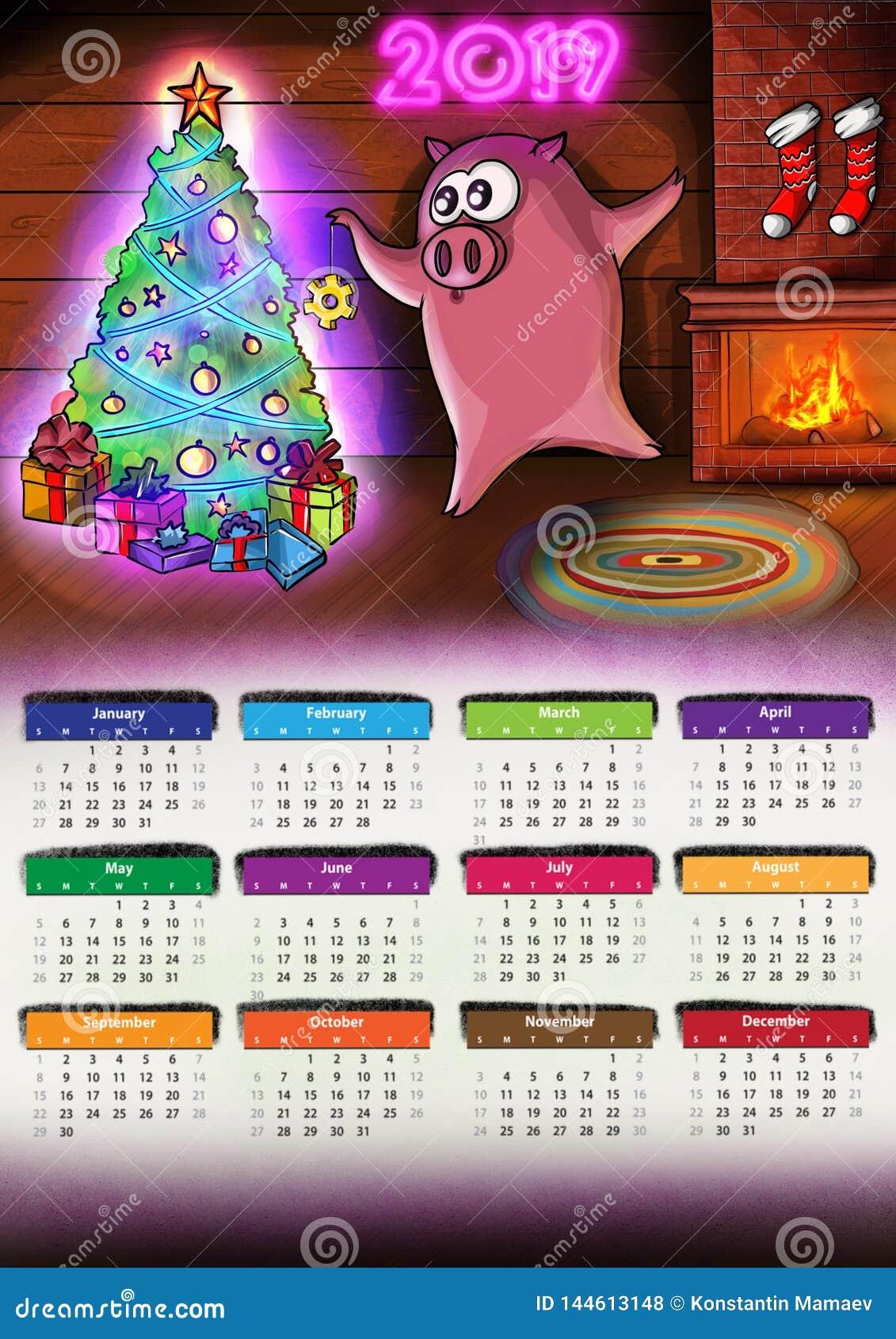 Kalender mit neuem Jahr 2019 Schwein Chenese